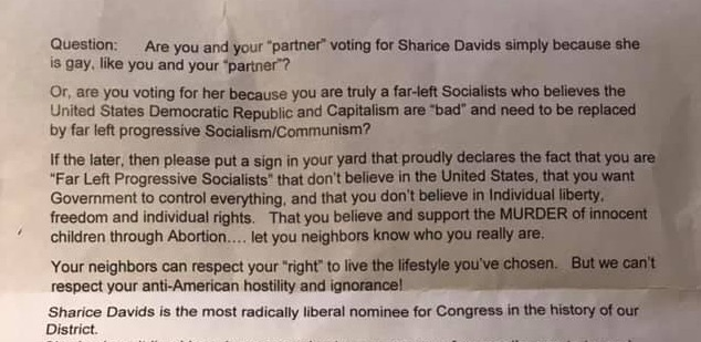 A portion of the letter against Sharice Davids the Kansas lesbian couple received.