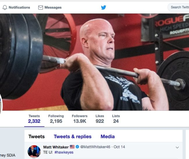 Matt Whitaker's Twitter cover shows him flexing his muscles.