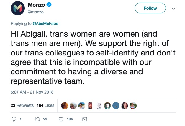 Monzo's transgender support on Twitter
