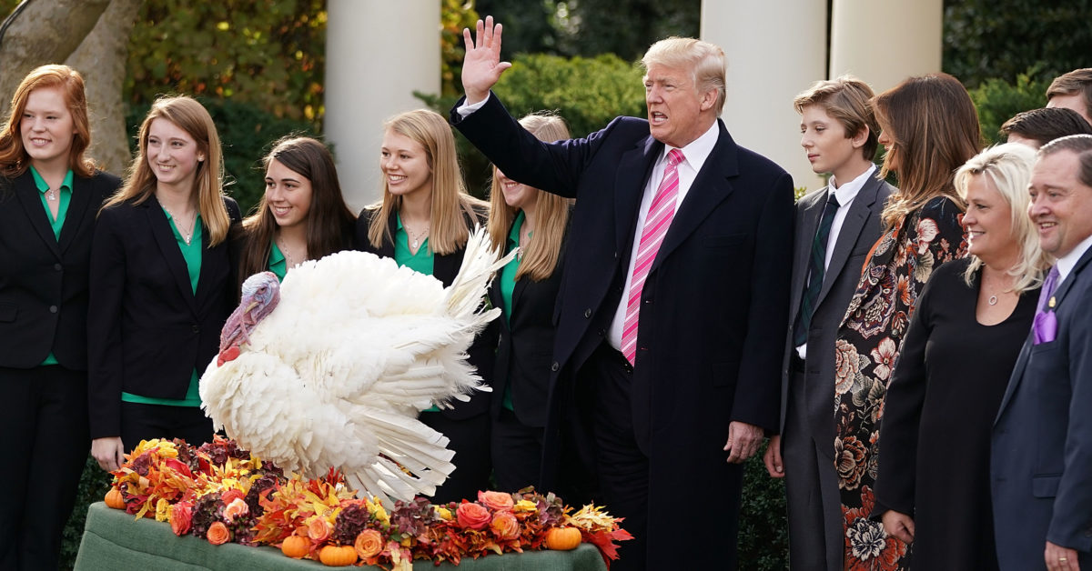 President Donald Trump (C), first lady Melania Trump, their son Barron, National Turkey Federation Chairman Carl Wittenburg and his family and members of the Draper County, Minnesota, 4-H chapter pose for photographs in the Rose Garden at the White House November 21, 2017 in Washington, DC. (Chip Somodevilla/Getty)
