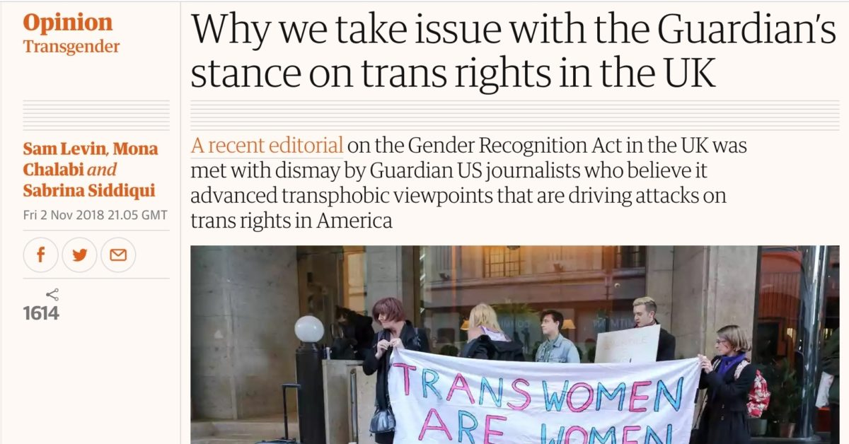 "Guardian US journalists denounce the newspaper's ""transphobic"" editorial on the Gender Recognition Act reform. (Screenshot/Guardian.com)"