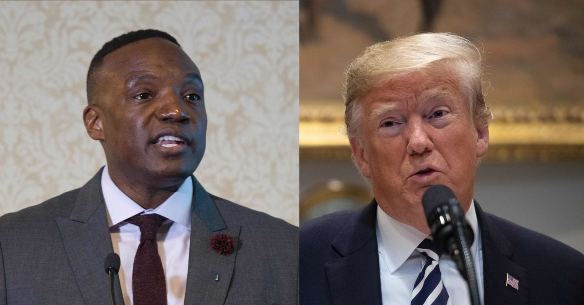 Composite image of Kwame Jackson (L) and President Donald Trump. (Don Emmert/AFP/Getty; Nicholas Kamm/AFP/Getty)