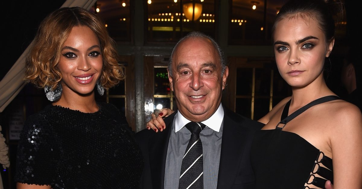 Beyoncé, Sir Philip Green and Cara Delevingne attend a Topshop Topman event on November 4, 2014 in New York City. (Dimitrios Kambouris/Getty)