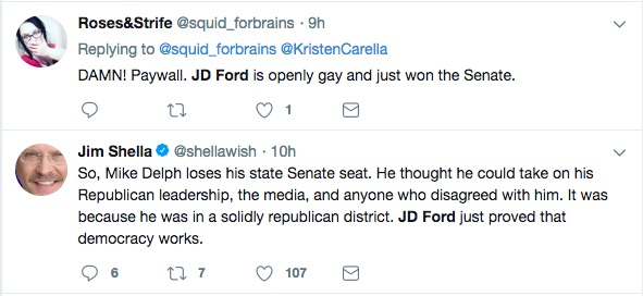 Twitter user react to the news that JD Ford is the first gay man elected to the Indiana state senate.