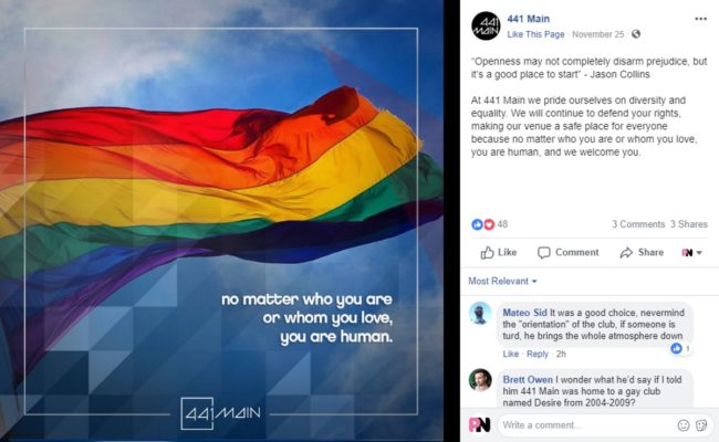 A post on Facebook by 441 Main, a gay club in Winnipeg, Canada
