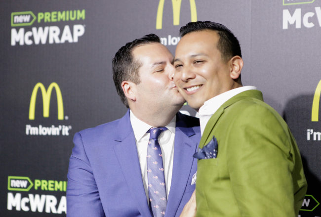 Ross Mathews and Salvador Camarena attend the launch of McDonald's Premium McWrap at Paramount Studios