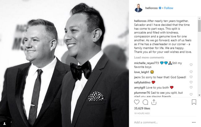 Instagram post by Ross Mathews telling fans about his split from Salvador Camarena