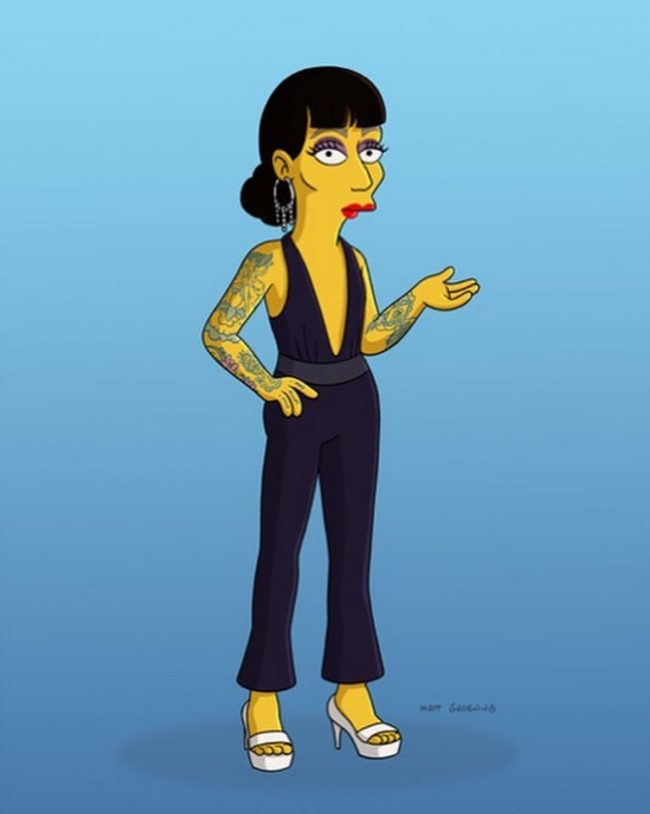 Raja as she will be on The Simpsons
