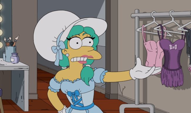 Sideshow Mel joined Marge and Homer Simpson in dressing in drag on The Simpsons