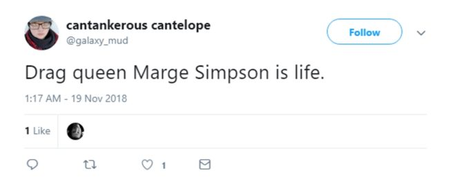 A tweet about Marge Simpson dressing up in drag on The Simpsons