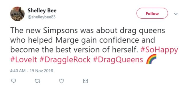 A fan tweeting about The Simpsons' Marge Simpson becoming a drag queen