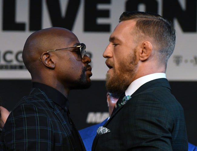 Floyd Mayweather and Conor McGregor face off during a news conference at the KA Theatre at MGM Grand Hotel & Casino in 2017