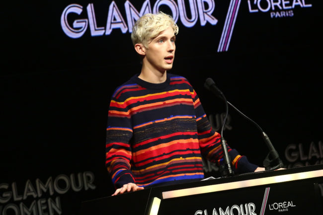 Troye Sivan speaks onstage at the 2018 Glamour Women Of The Year Awards