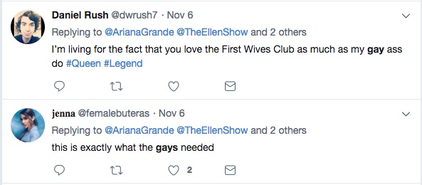 Twitter users loved that Ariana paid tribute to The First Wives Club.