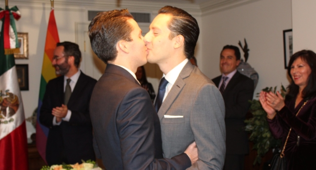 The gay Mexican couple's wedding will be the first same-sex marriage celebrated abroad recognised by Mexico. (NYC Mayor's Office for International Affairs/Facebook)