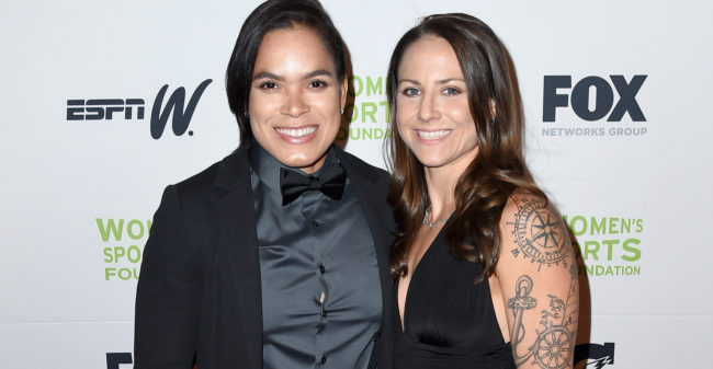 Amanda Nunes and Nina Ansaroff attend the Women in Sports Awards Gala. (Nicholas Hunt/Getty Images for Women's Sports Foundation)