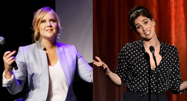 L -  Actress Amy Schumer speaks during the 2015 Tribeca Film Festival. R- Sarah Silverman speaks onstage during TrevorLIVE LA 2015 at Hollywood Palladium (Robin Marchant/Kevin Winter/Getty)