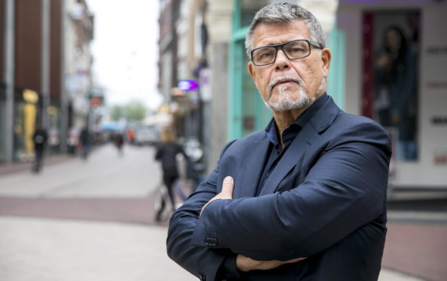 This photo shows a portrait of 69-year-old Dutchman Emile Ratelband in the centre of Arnhem