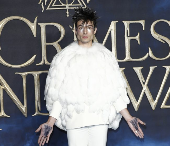 Ezra Miller at the London premiere of Fantastic Beasts: The Crimes of Grindelwald
