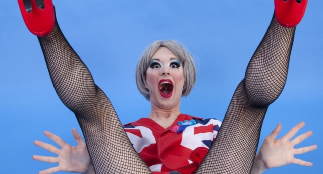 Drag queen Fagulous as drag Theresa May. (Holly Revell)