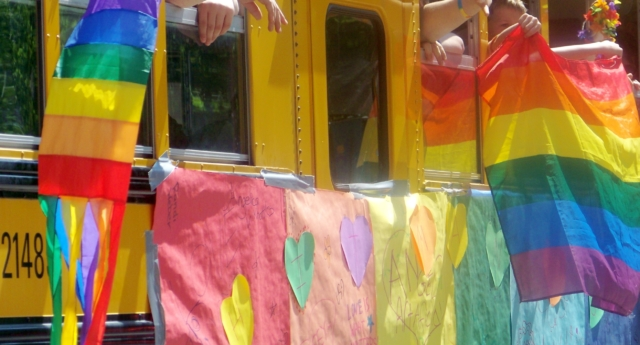 A Gay-Straight Alliance school bus takes part in a Pride parade in 2008. (Creative Commons/jglsongs)
