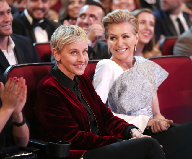 TV personality Ellen DeGeneres (L) and actress Portia de Rossi attend the People's Choice Awards 2017 at Microsoft Theater on January 18, 2017.