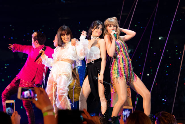 Charli XCX, Camila Cabello and Taylor Swift perform onstage during opening night of Taylor Swift's 2018 Reputation Stadium Tour at University of Phoenix Stadium on May 8, 2018.