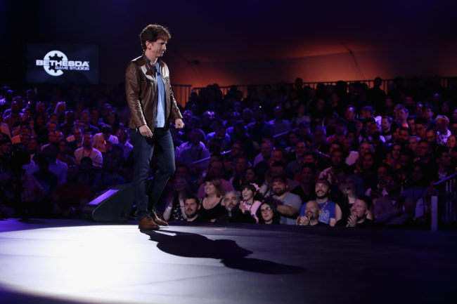 Todd Howard, Director and Executive Producer at Bethesda Game Studios, reveals Fallout 76 during the Bethesda E3 conference at the Event Deck at LA Live on June 10, 2018 in Los Angeles.