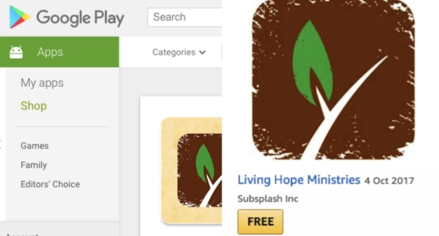 "An LGBT+ campaign group is calling on Google and Amazon to remove the anti-gay ""Living Hope Ministries"" app from their stores. (Google/Amazon)"