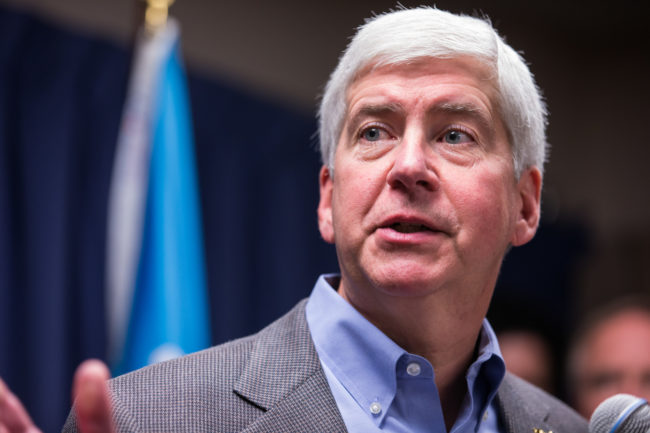 Michigan Gov. Rick Snyder speaks to the media regarding the status of the Flint water crisis. (Brett Carlsen/Getty Images)