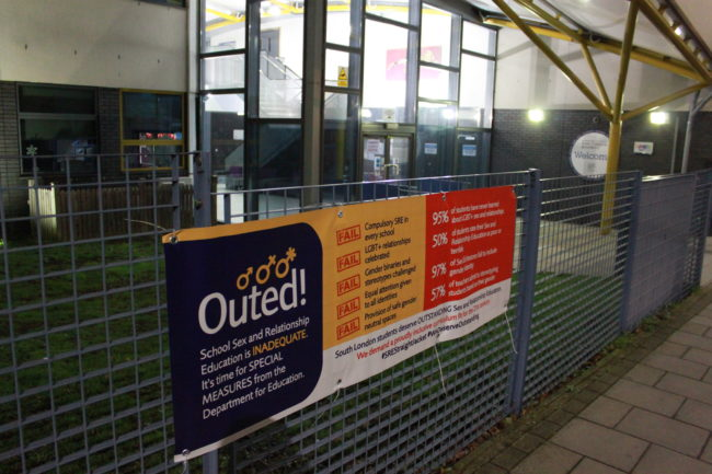 Student activists have made banners in the style of Ofsted to highlight the lack of LGBT+ inclusive sex education in schools