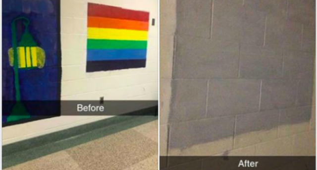 An alumni of the school criticised the decision to paint over the flag. (Justice Rane Leisten/Facebook)