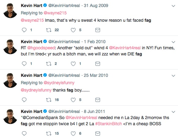 "Kevin Hart homophobic Tweets, he calls gay people ""fags"" on Twitter"