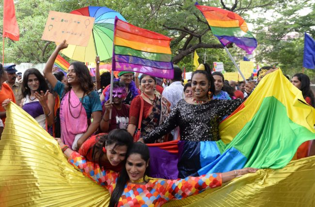 LGBT+ Indians take part in Chennai Pride in June 2018.