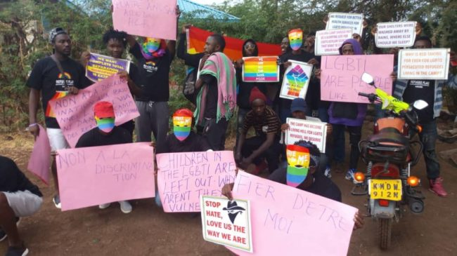 LGBT+ campaigners at the march in Kakum