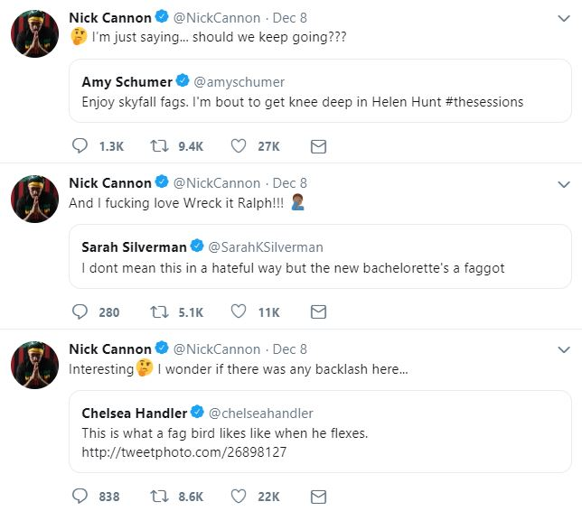 Tweets show Amy Schumer, Chelsea Handler and Sarah Silverman using the slurs 'fag' and 'faggot'