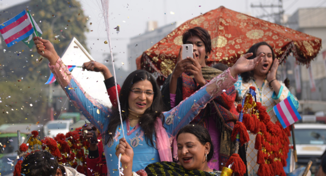 People take part in Pakistan's first Transgender Pride parade to demand for the implementation of transgender rights bill in Lahore on December 29, 2018. (ARIF ALI/AFP/Getty)