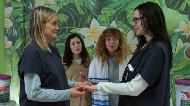 Best Lesbian TV storylines and scene: Orange is the New Black: Piper Chapman and Alex Vause prison wedding