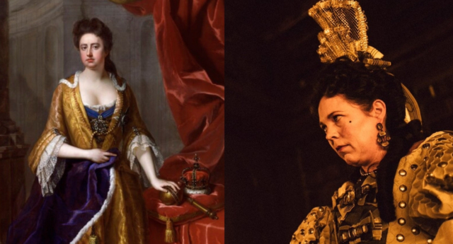 Painting of Queen Anne in the 18th century next to Olivia Colman as Queen Anne in The Favourite. (Edit by PinkNews)