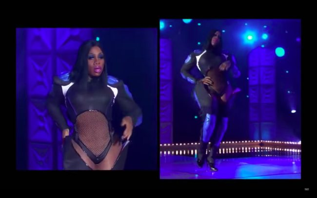 RuPaul's Drag Race All Stars 4 queen Monet X Change wows with a stunning high-fashion booted garment.