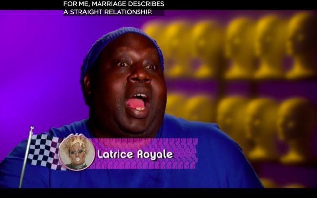 RuPaul's Drag Race All Stars 4 queen Latrice Royale competed on season 4 where she took an anti gay marriage stance.