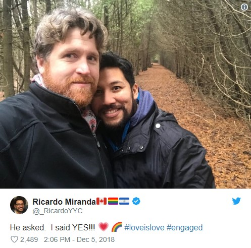 Ricardo Miranda and Christopher Brown smiling outside announcing their engagement on Twitter