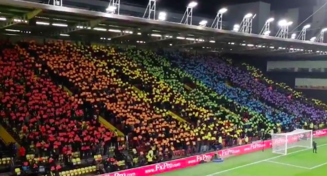 Watford FC fans made a giant Pride flag in their game against Manchester City on Tuesday night. (ProudHornets/Twitter)