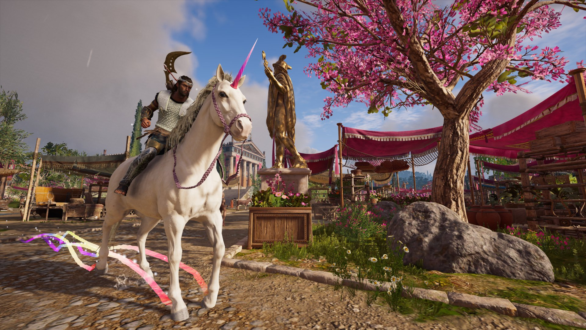 Alexios on a unicorn in Assassin's Creed: Odyssey. (Ubisoft)