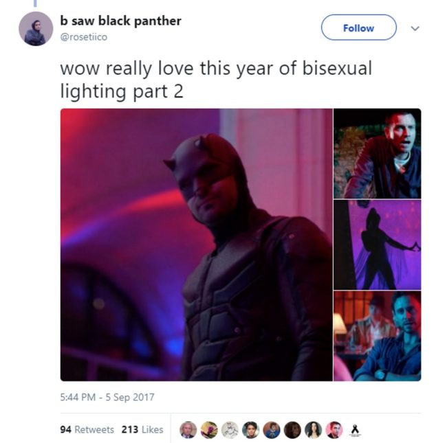 Gay memes: a tweet showing how bisexual lighting has been used in different shows and films in 2018