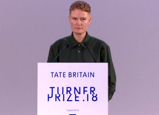 Charlotte Prodger picking up the Turner Prize on December 4 at Tate Britain