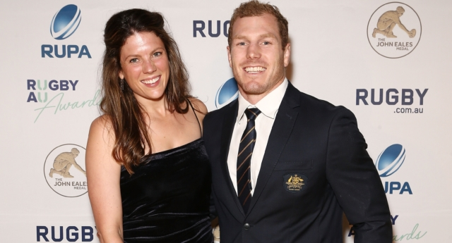 David Pocock and Emma Palandri arrive ahead of the 2018 Rugby Australia Awards at Royal Randwick Racecourse on October 19, 2018 in Sydney, Australia.  (Jason McCawley/Getty)
