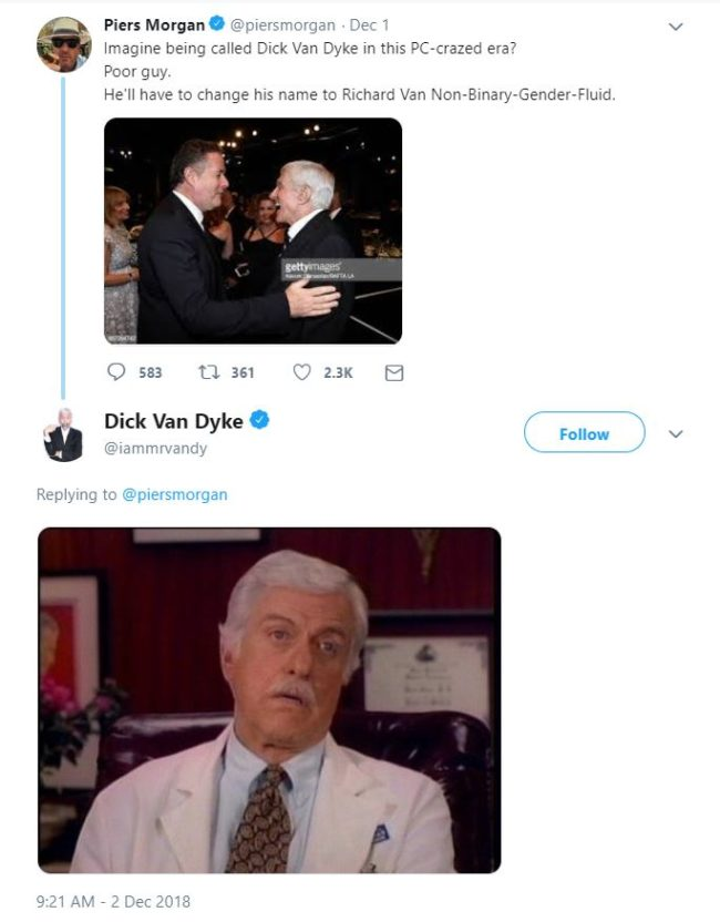 Dick Van Dyke responded to Piers Morgan with a Dick Van Dyke meme