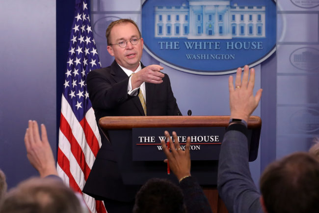 Office of Management and Budget Director Mick Mulvaney talks to reporters during a news conference about the ongoing partial shutdown of the federal government at the White House in January 2018