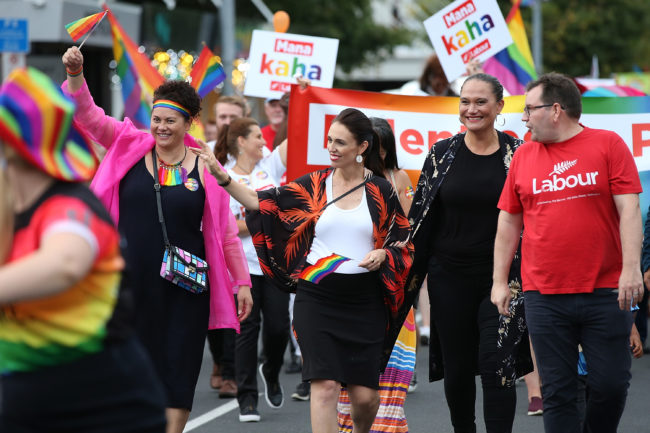 Prime Minister Jacinda Ardern becomes the first leader of New Zealand to march in the Pride Parade in Auckland